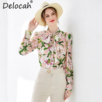 Delocah Women Spring Tops Blouse Runway Fashion Bow Collar Lily Floral Printed Single Breasted Casual Holiday Pure Silk Blouse