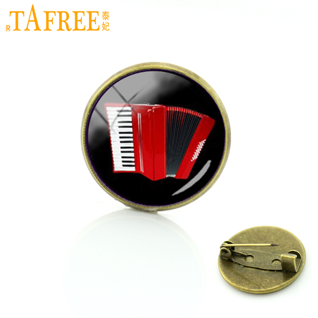 TAFREE nuovo elegante red fisarmonica spille pins all'ingrosso strumento musicale distintivo dell'annata delle donne degli uomini amanti della musica dei monili T494