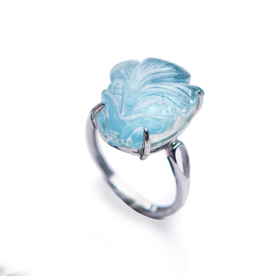 Drop Shipping Natural Adjustable Blue Ocean Crystal Ring Adjustable Size Crystal Ring Popular 925 Sterling Silver Women Ring