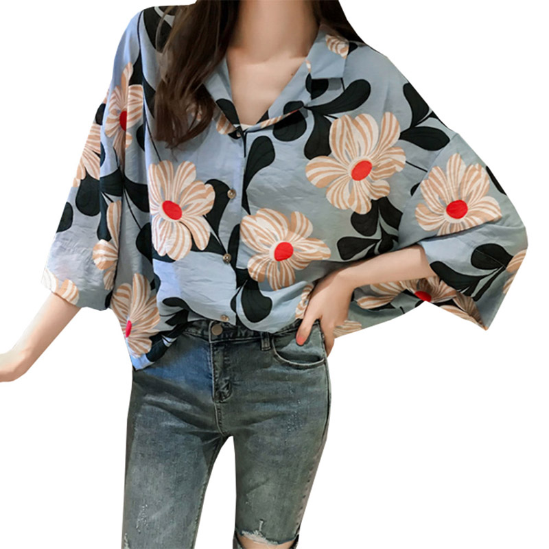 summer new flower print suit collar shirt female summer new three quauter loose sleeve shirt