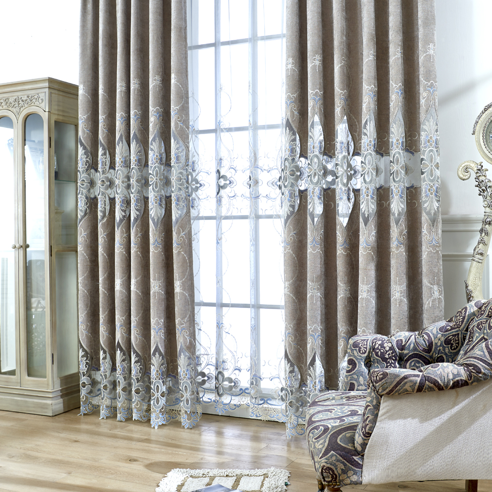 Embroidered European Grey Royal Luxury Curtains for Bedroom Window ...