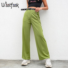 Waatfaak Solid Green Baggy Wide Leg Pants High Waisted Casual Chain Pocket Summe