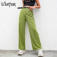 Waatfaak Solid Green Baggy Wide Leg Pants