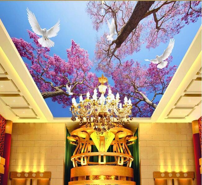 Free shopping 2015 new non-woven Cherry blossom blue sky dove scenery sunshine zenith condole top photo wallpaper for walls 3d