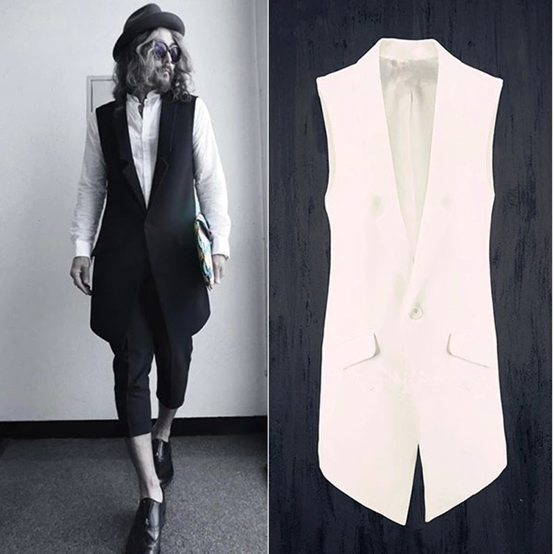 Plus Size Stylish Men's Clothes Edge Designers Quality Sleeveless Long Suit Vest Waistcoat For   S-XXXL Size