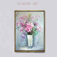 Stylish realistic flowers modern abstract art flower oil painting wall decoration furniture hotel sofa hall corridor