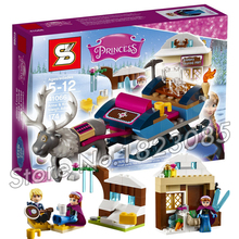 205pcs SY372 Princess Series Anna Kristoff's Sleigh Adventure Building Bricks Figures Girls Toys Compatible With Lego
