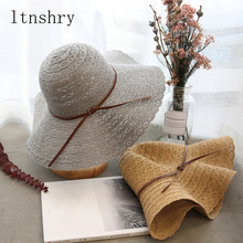 Fashion summer fashion Foldable Breathable Cotton Beach bow sun hats for Belt Women Sun Hat Brimmed Straw