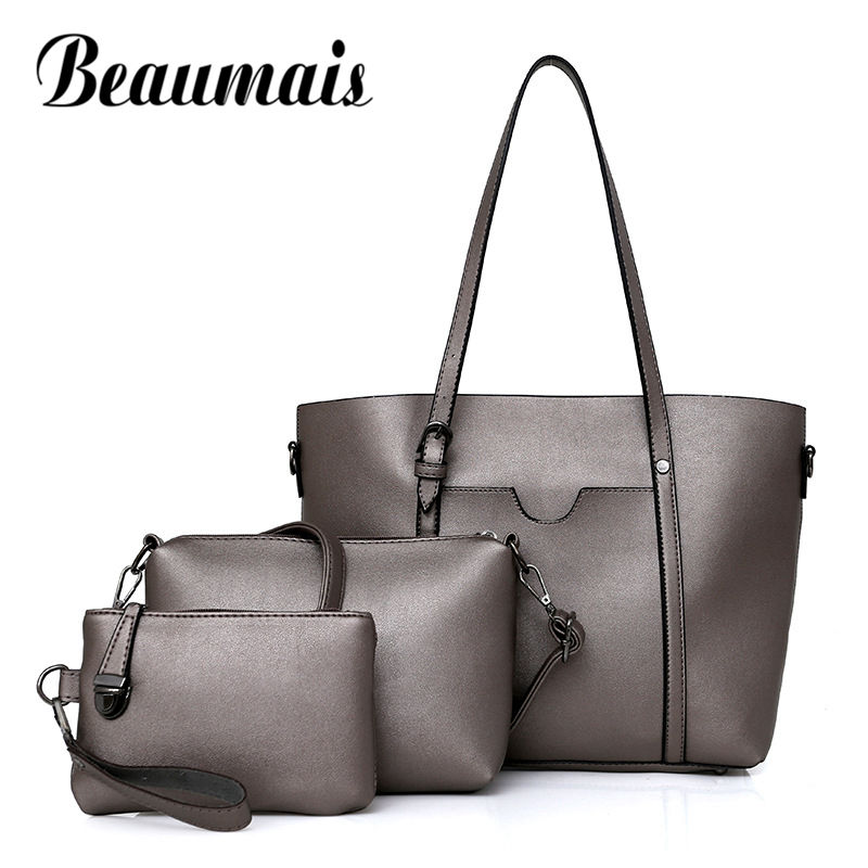 Beaumais 3 Sets Shoulder Bags Women Fashion Large Capacity Women Handbags Soft Leather Totes Ladies Blosas Female Clutch DF0090