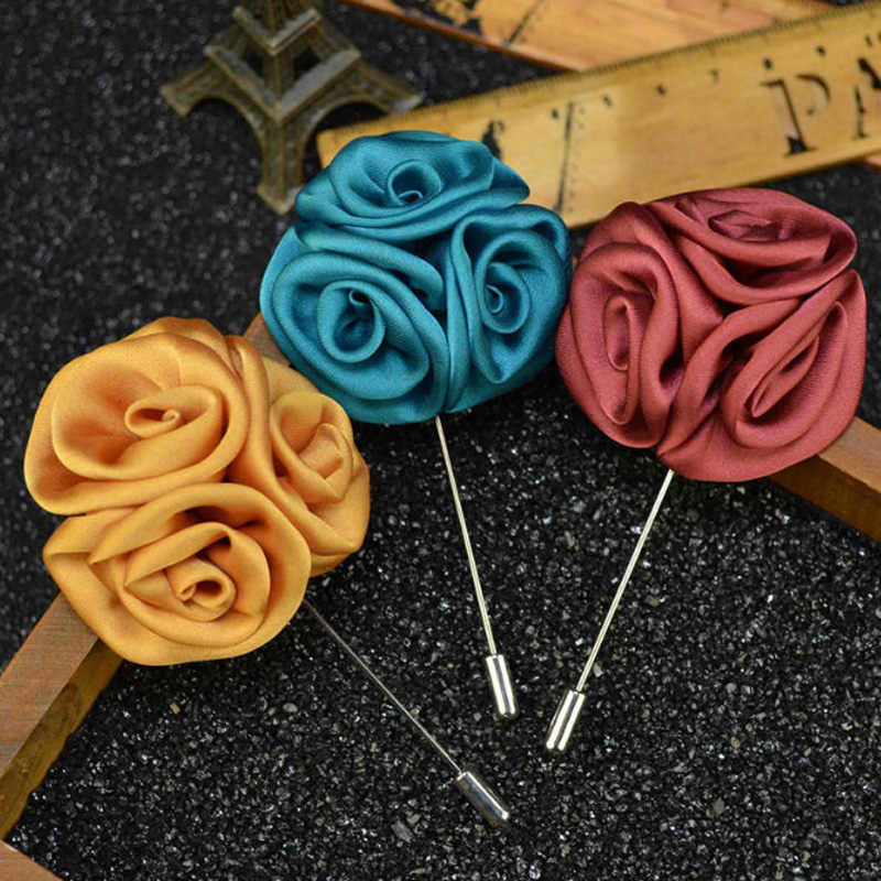 UALGL font b Fashion b font Handmade Fabric Lapel PinThree in one Rose Flower Brooches For