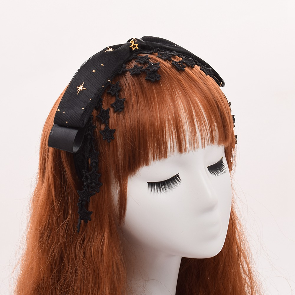 Cute Girls Lolita Stars Black Bow Hairband Lace Tassel Headwear