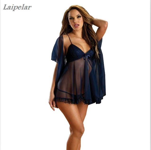 00cb22447 new Sexy Lingerie Lace Shawl female 3PCS set nightdress nightgown for woman  Laipelar