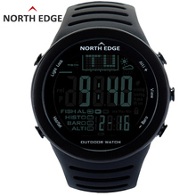 NORTHEDGE ผู้ชายนาฬิกาดิจิตอลกลางแจ้งนาฬิกานาฬิกาตกปลาสภาพอากาศเครื่องวัดระยะสูงความสูงปีนเขาชั่วโมง
