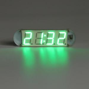 Mini fácil operación DIY 4 dígitos Digital LED reloj Kit conmutable 12 H/24 H modo de visualización de tiempo con caja transparente