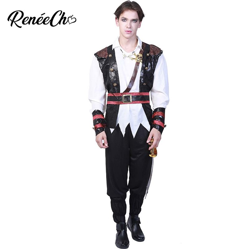 haloween costumes Blackbeard Men Pirate Costume Plus Size Realistic Caribbean Captain Cosplay 2018 Halloween Costume For Adult