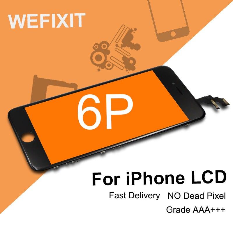 imágenes para 5 UNIDS 100% Probado Para el iphone 6 Más Pantalla LCD Táctil Digitalizador Asamblea Reemplazo de la Exhibición Negro Marco de Color Blanco Frío conjunto