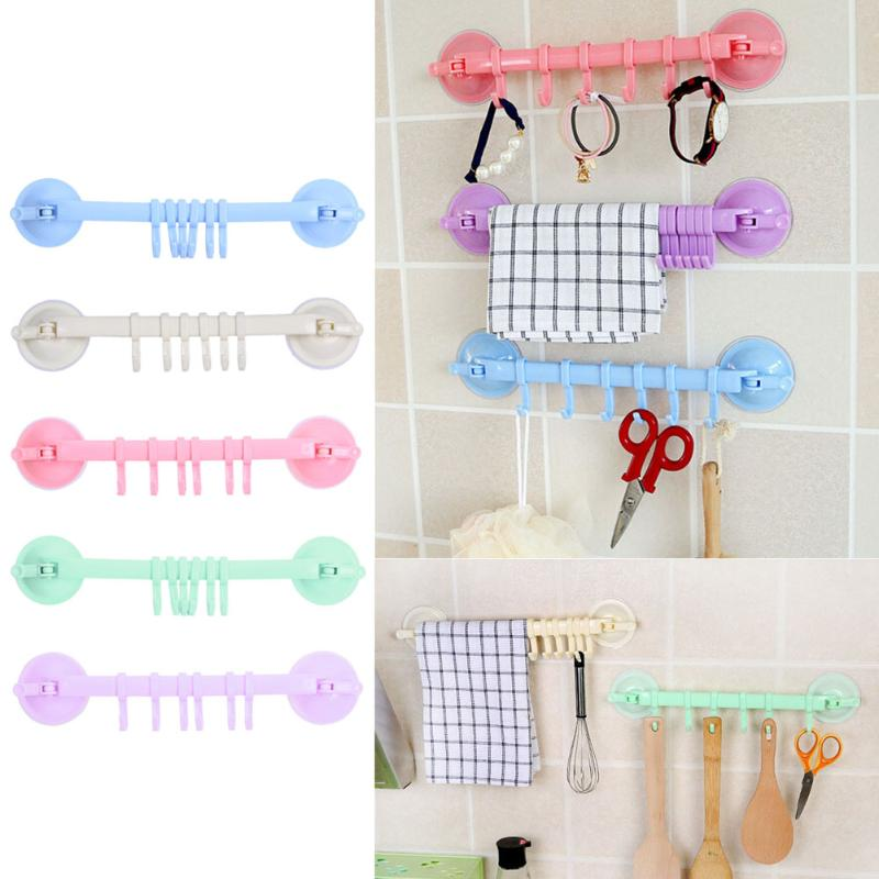 Plastic Suction Cup Kitchen Hanger Organizer Bath Towel Clothes Bathroom Hook Cooking Tool Vacuum Storage Rack Free Nail Hook