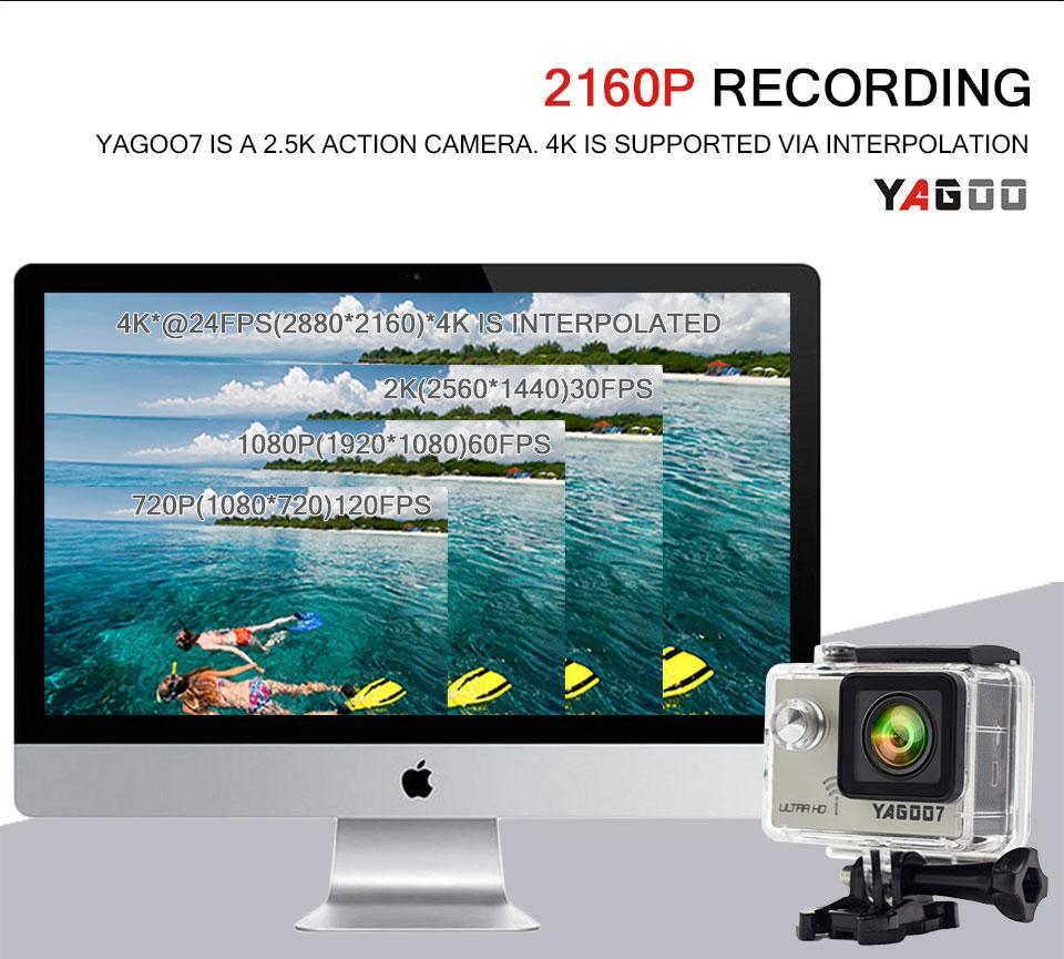 Yagoo7 Action Camera 4K Waterproof wifi Ultra HD 4K/24FPS 1080P/60FPS Bike  Video Sports Camera DV Go 30M Mini Cam Pro
