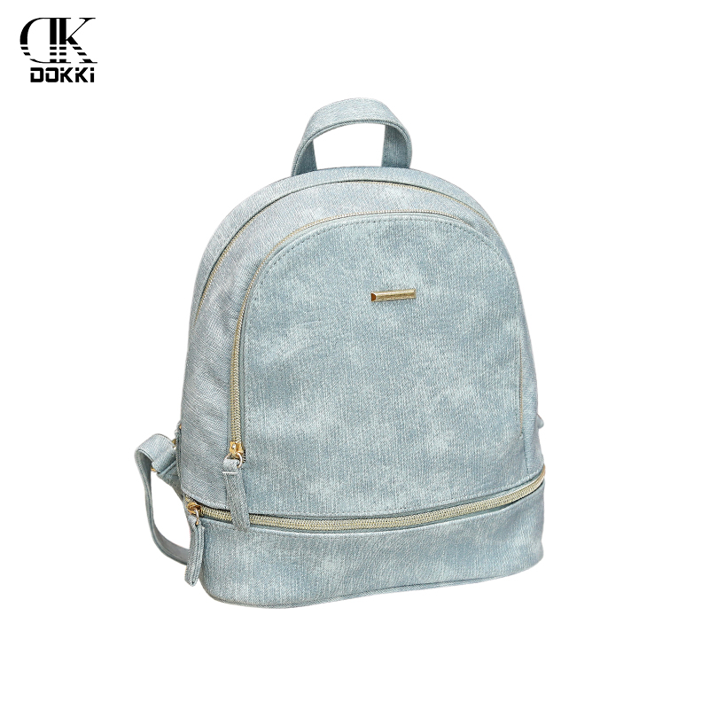 DOKKI Fashion Women Backpack Black High Quality PU Soft Leather High Capacity Retractable Teenage Girls Female School Bagpack