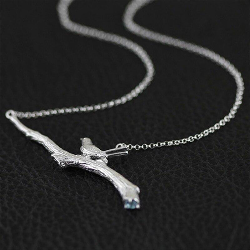 Lotus Fun réel 925 argent Sterling topaze naturelle à la main bijoux fins oiseau sur branche Collier avec pendentif pour femmes Collier