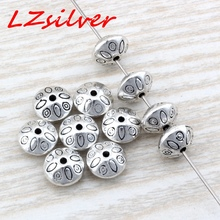 Hot Sale !  10pcs Antique Silver Alloy Round Saucer Bicone carving Spacer Bead Findings 6x9mm DIY Jewelry D20