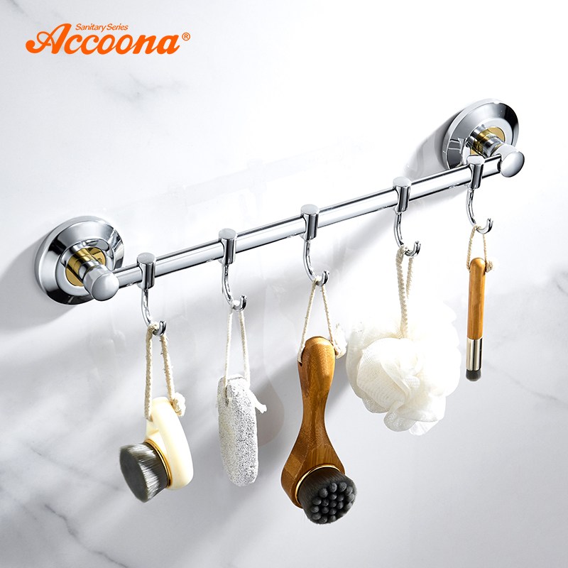 Symbol Of The Brand Accoona Bath Kitchen Wall Hanging Hooks Room Clothes Rack Towel Towel Hook Clothing Shelves Nail Hole Hook Up Move Hook A162 Exquisite Craftsmanship; Robe Hooks