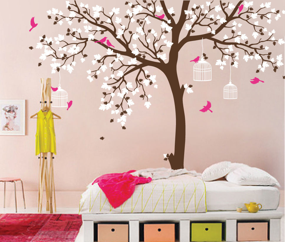 Large decorative wall decals promotion shop for promotional large bird cage tree nursery room decor baby room wall decal large tree with birds leaves wall stickers for kids room wall tattoo d371 amipublicfo Choice Image