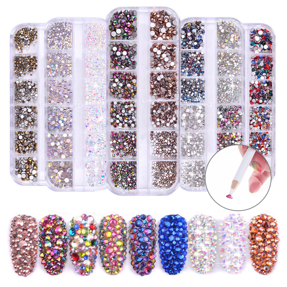 1440PCS Rhinestones Cabochons Glitter Imitation Diamond Gems Decorations For Nail Art Mixed Color Acrylic Nail Art Crystal Gems