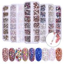 1440 piezas cabujones de diamantes de imitación decoraciones de gemas para decoración de uñas colores mezclados acrílico arte de uñas gemas de cristal