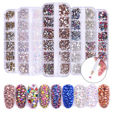 1440PCS Rhinestones Cabochons Glitter Imitation Diamond Gems Decorations for Nail Art Mixed Color Acrylic Nail Art Crystal Gems(China)