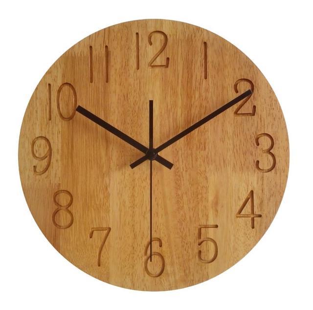 PINJEAS wooden clock natural wall round clock 12 inch Modern style rustic wall clock minimal clock eco friendly design decor