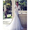 Luxury Feathers Deep Double V Neck Mermaid Wedding Dresses Long Sleeves High Quality Lace Bridal Dress 2016 Vestido noiva praia
