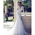 Penas de luxo Double Deep V Neck Sereia Vestidos de Casamento Mangas Compridas Rendas de Alta Qualidade Vestido de Noiva 2016 Vestido de noiva praia