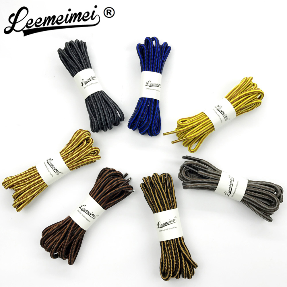 Double Colors Shoe Laces 120 150cm Wholesale Polyester Sneaker Shoe Lace Double Striped Braid Round Shoelaces for Boots