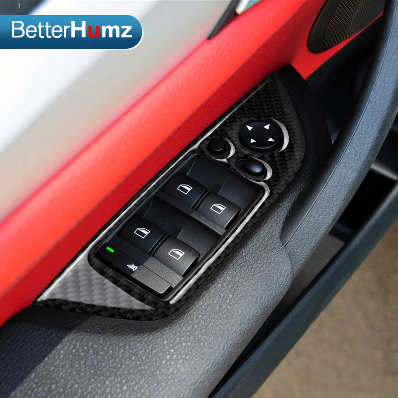 Carbon Fiber Refit Interior Car Window Lifter Control Panel Stickers Window Switch Decoration Car Styling For