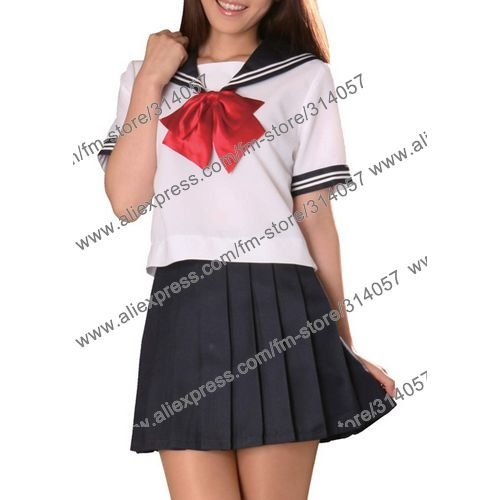 Freeshipping,anime products Short Sleeves Sailor School Girl Cosplay Costume