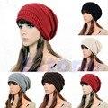 Frete Grátis Vogue Mornas do Inverno Plicate Baggy Beanie Crochet Ski Hat Cap Desleixo de Grandes Dimensões
