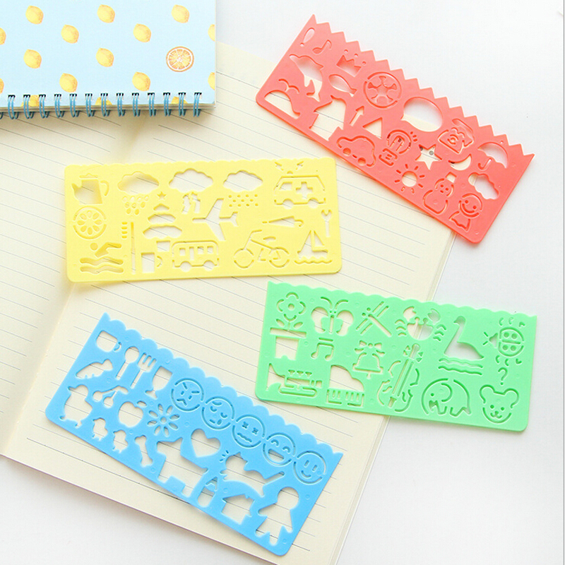 4pcs /Set Creative Candy Color Drawing Template Ruler Promotional Gift Student Stationery Set School Supply