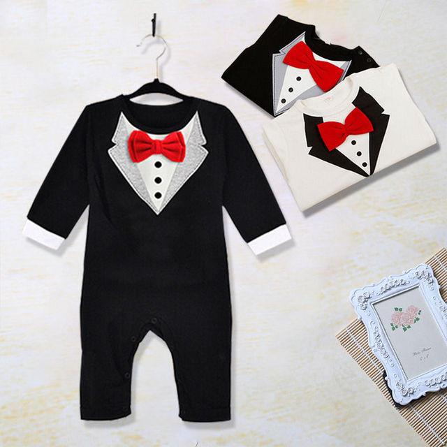 e031da09d824 Cute Newborn Baby Clothes Kids Suit Boys Clothes Rompers Formal ...
