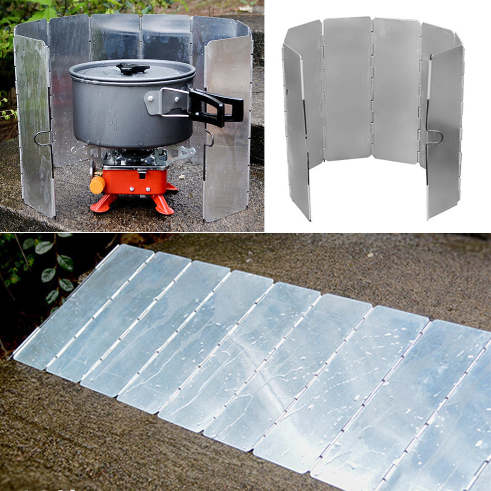 8 PCS Outdoor Burner Picnic Stove Screen Type Aluminum Alloy Windshield For Outdoor Camping Hiking Tableware Cooking Tools