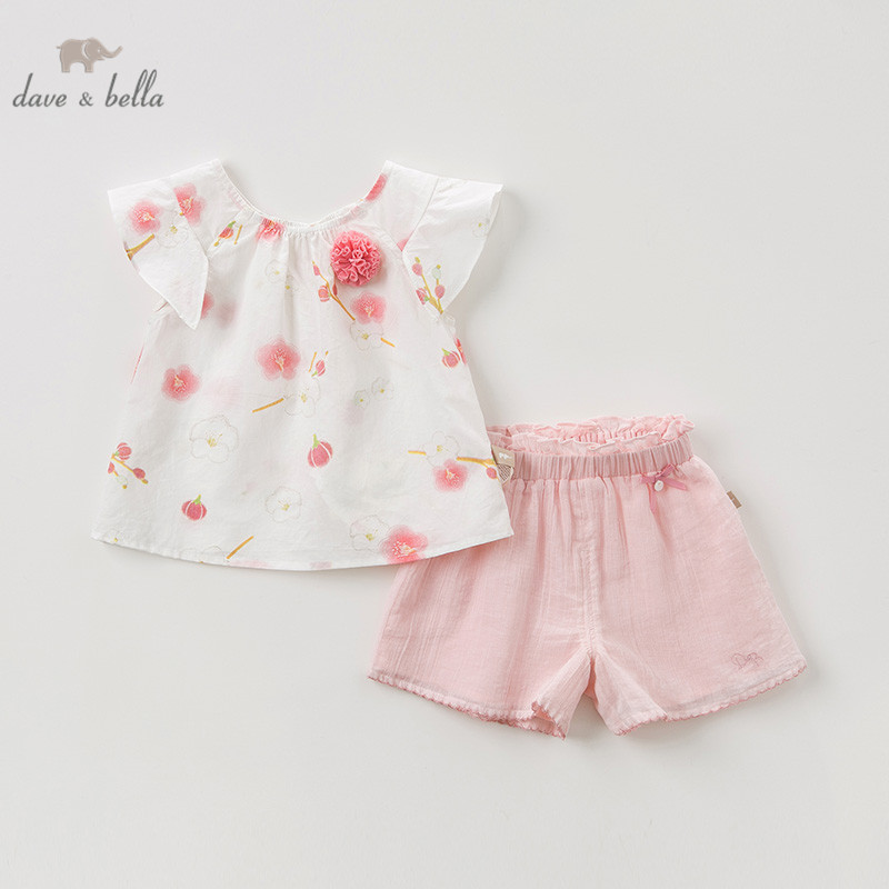DBJ10084 Dave bella summer baby girl clothing sets children floral suits infant high quality clothes girls flowers outfit