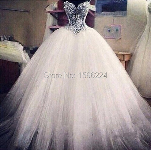 Wedding Corset E55229 Tull Vestidos De Noiva Dresses Court Stunning Vestido Gown Ball Novia Bodas Y Beaded Train Backless En Kleinfeld Sweetheart 2015 Xpdax04w