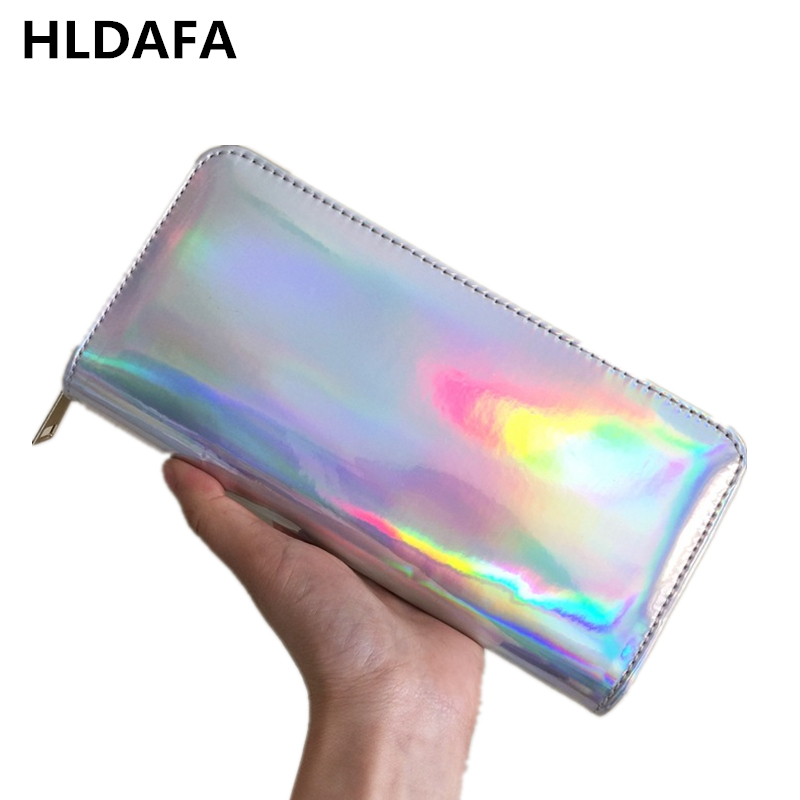 HLDAFA 2019 New Leather Women Wallet Hologram Bag Laser Silver Clutch Wallet Long Female Money Purse Bank Card Holder Phone Bag