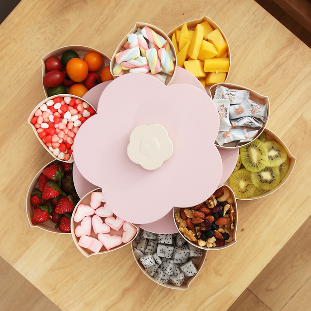 Petal-Shape Rotating Plastic Storage Box for Seeds Nuts Candy Dry Fruits Case Plum Type Lunch Container for Kids Protect Fruit