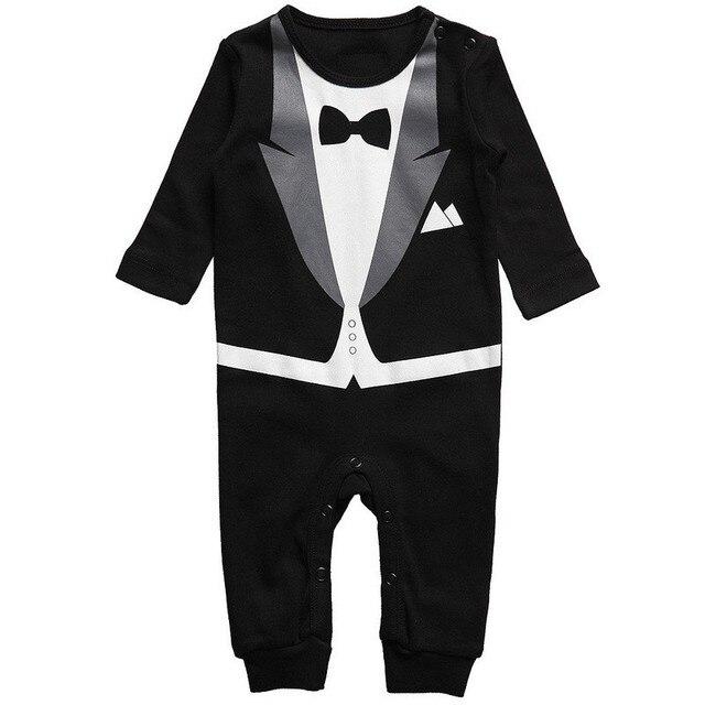 ed4721473 New Born Baby Clothes Baby Boy Romper Toddler boy Tie gentleman baby suit  1st boy jumpsuit Infant baby Onesie toddler romper