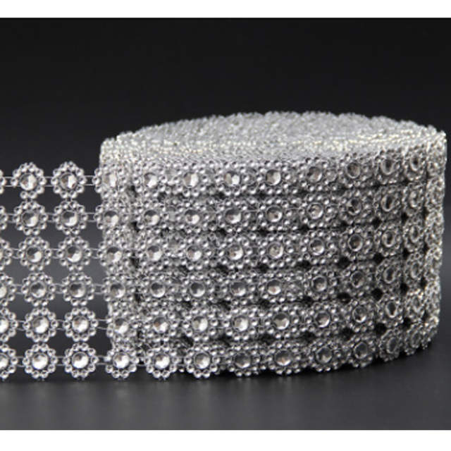 Us 2 37 12 Off 90cm Flower Diamond Studded Ribbon Home Decor Mesh Bling Crystal Rhinestone Wrap Roll Diy Cake Gift Package Wedding Party In