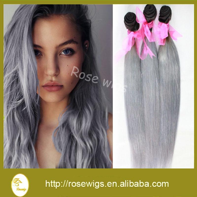 100 Virgin Brazilian Hair Two Tone Color Silver Hair Extension Gery