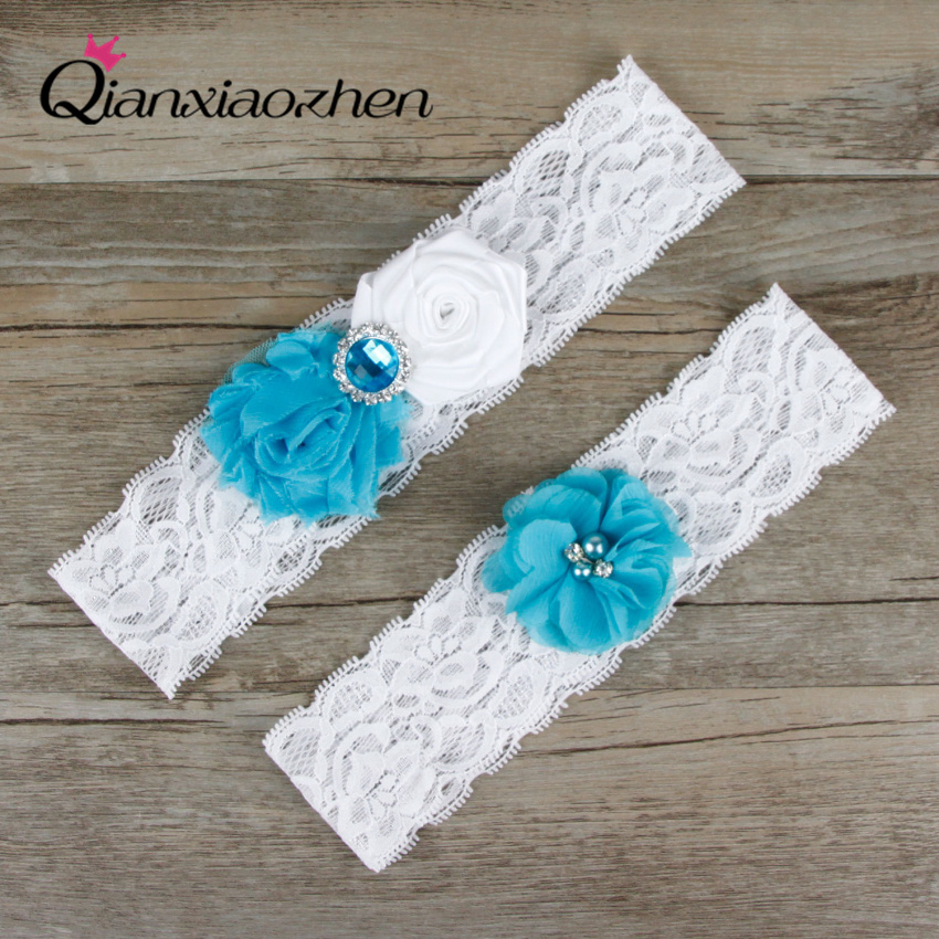 Wedding Leg Garter: Qianxiaozhen Blue And White Wedding Accessories 2pcs/set