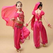 Belly Dance Children Indian Costume Set 5-piece (Top + Pant + Belt + Veil headpiece+Bracelets*2) Bollywood Dance Costumes for Gi