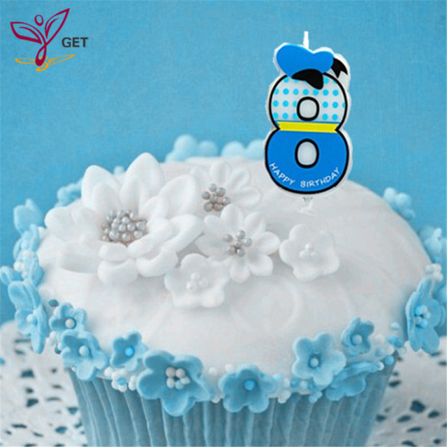 Boy Blue Number 8 Candle Cake Ages Party Kids Birthday Decorations Colorful